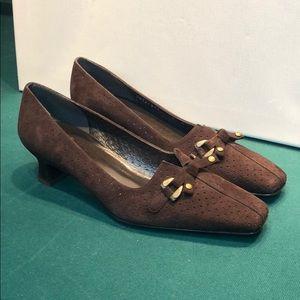 Stuart Weitzman Perforated Kitten HeelSuede Shoes